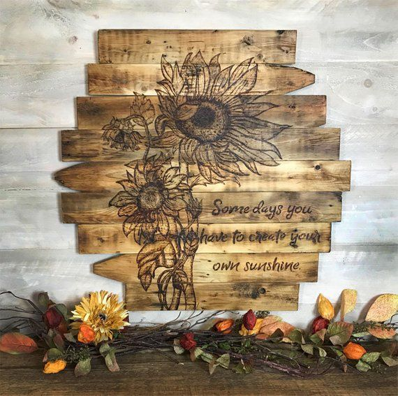 Sunflower Wall Decor Wood Sign Art Rustic Farmhouse Home Reclaimed Sunflowers Picture Bedroom Kitchen Housewarming Gift Idea Diy