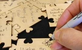 Custom Sweetheart Puzzle Wooden Signing Guest Book