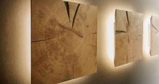Dryad Interior Collection wall element with lighting end grain solid oak - M