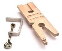 Wood bench pin with clamp