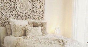 """71 """"große thailändische Wandkunst King Size Bett Skulptur böhmischen Kopfteil dekorative Blume Mandala aus Holz Hand Craved Teak Holzplatte weiß Dekor - Alex Stevenson"""