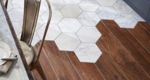 Kombinieren Sie den Holzboden mit Fliesen