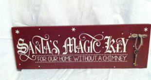 Magico segno chiave di Babbo Natale per la nostra casa senza un segno di legno del camino, vacanza segni, segni di Natale Primitivo, segni venuta di Babbo Natale