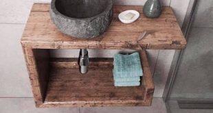 Altholz Waschtisch, Waschbeckenunterschrank, Waschbeckenschrank, Waschbeckenablage
