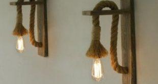 Aufgearbeiteten Holz Wandleuchte mit Seil, Seil Wand Lampe Beleuchtung, Industrielampen, kostenloser Versand