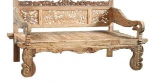 Balinese Teak Carved Daybed. Floral Carved teak wood bench with rolled arms. Per...