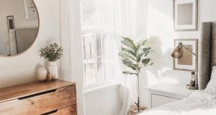 Bedroom decor white and natural wood