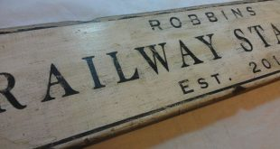 Custom Railway Station Wood Sign with Frame - Handmade Personalized Wooden Train Decor