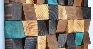 Holz-Wand-Kunst, Altholz Holzkunst, Mosaik, Holzkunst, geometrische Wandkunst, Holz Bauernmalerei, Holzkunst, Holzplatte
