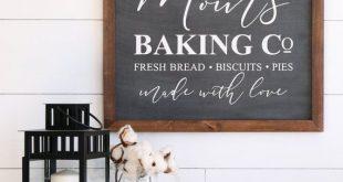 MOM'S BAKING CO Farmhouse Style Rustic Wood Sign, Handmade, Shabby Chic