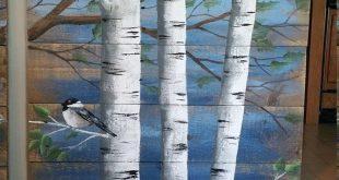 Malerei auf Holz, Paletten-weiß-Birke-Wand-Dekor Altholz Malerei, 4 Stück-Set, 9' breit insgesamt, von handbemalt dunkelblau, rustikal schäbig