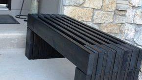 Moderne Slat Top Holzbank Outdoor #frei #Holzbank #modern #WoodWorking