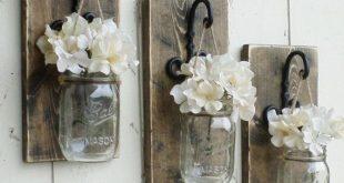 Neu ... Bauernhaus Wand Dekor. Rustikal hängende Einmachglas Wandleuchte ... Be...
