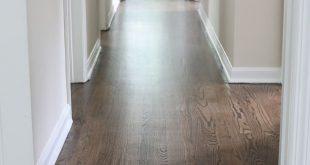Refinished Hardwood Floors with Dark Walnut Stain and Satin Poly Finish