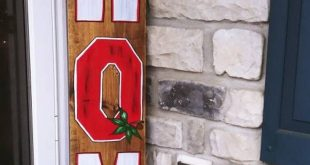 Rustic Ohio State fan HOME porch wood sign | front door signs | outside decor sign