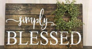 Simply Blessed, inspirational, farmhouse decor, rustic wood sign, farmhouse wreath