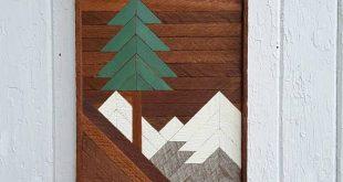 Wood Wall Art Pine Tree and Mountain Scene Gifts Ski Lodge