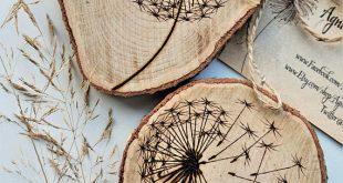 machen Sie einen Wunsch, Löwenzahn Holzscheibe, Löwenzahn Kunstwerk, personalisierte Zweig Scheibe, Holzscheibe ausbrennen, Holzofen Kunst, Holzofen